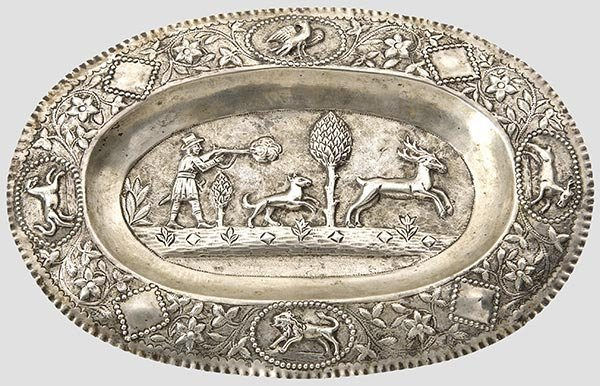 2003: A silver hunting tray,German, circa 1830