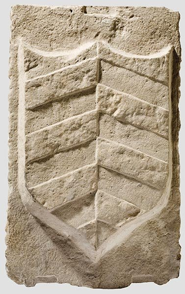2012: A stone bearing a coat of arms