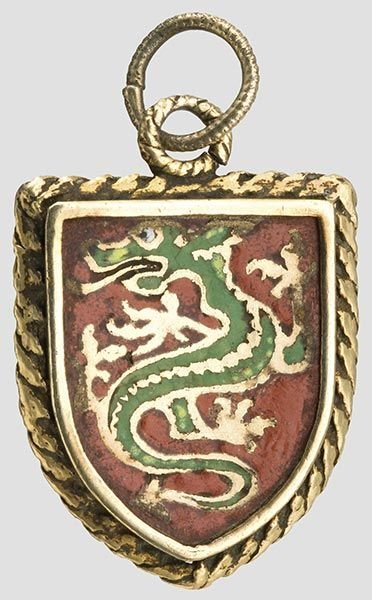2015: An enamelled pendant coat of arms