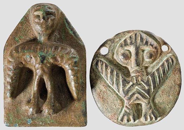 18: Zwei vorderasiatische Bronze-Idole,