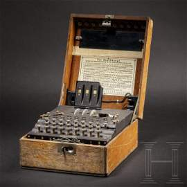 "An ""Enigma I"" cipher machine, number ""A 10694"","