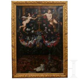 A monumental Flemish altar painting with a monogram,