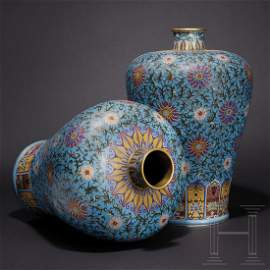 A pair of impressive Chinese cloisonné vases in Mei