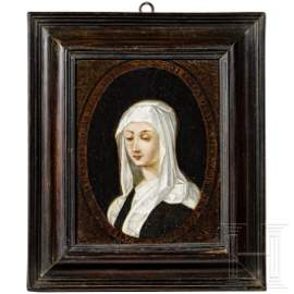 An old master painting of an abbess, probably French,