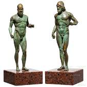 Two bronze statuettes of the Riace Warriors