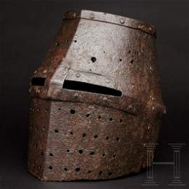 A great helm in the style of the 13th century