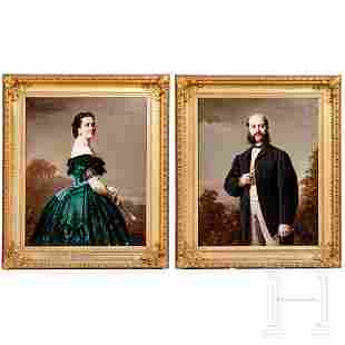 Conrad Freyberg (1842-1915), a pair of large portraits,