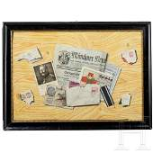 A trompe l'oeil with letters and a newspaper from WW I,