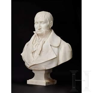 A French life-sized marble bust of a gentleman,