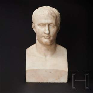 A large marble bust of Napoleon I of France, after