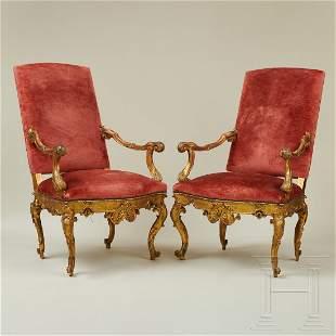 A pair of fine Italian rococo armchairs, Venice, 18th