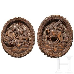 A pair of South German carved boxwood panels, 1st half