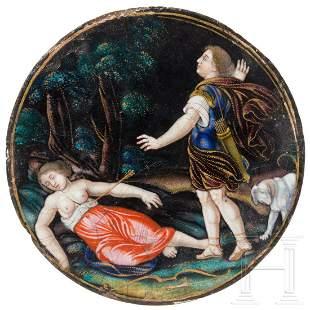 A fine enamelled plaque with Cephalus and Procris,