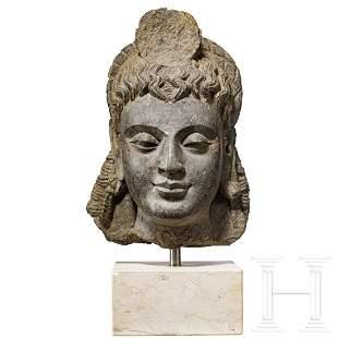 A fine Gandhara Buddha head, black schist, circa 3rd -