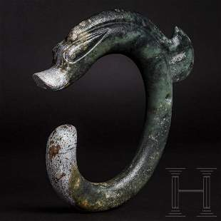 A large Chinese C-shaped jade dragon, Hongshan culture,