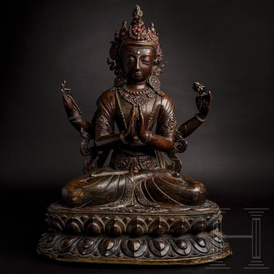 A Nepalese Avalokiteshvara bronze statue, 18th century