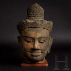 A Cambodian stone head of Shiva, Khmer culture,
