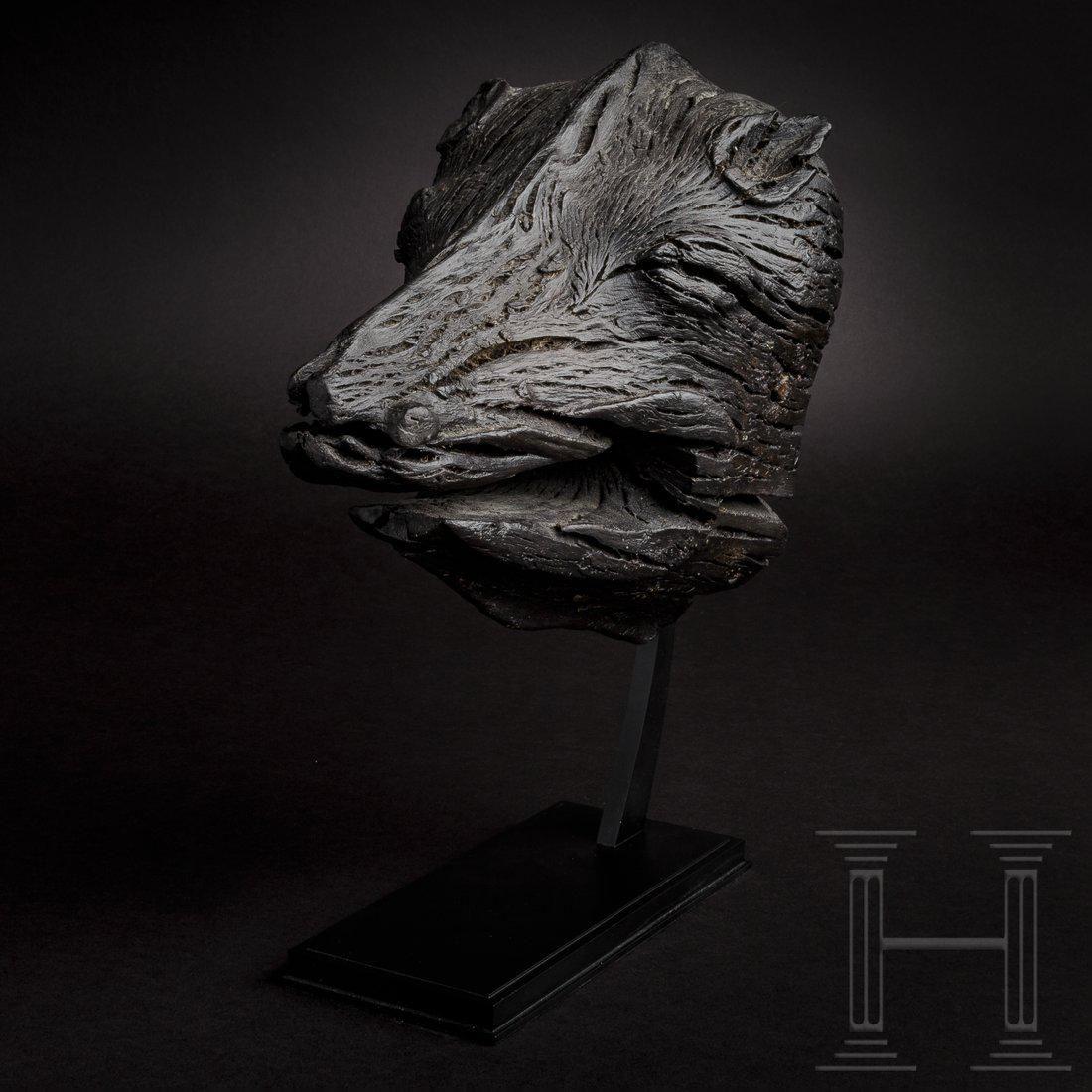 A Scandinavian Viking boar's head from a ship, 7th -