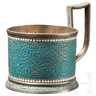 An enamelled silver tea glass holder, Gustav Klingert,