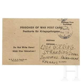 Hermann Göring – a handwritten postcard from