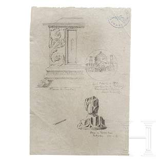 Albert Speer – a drawing of a Florentine chest, a
