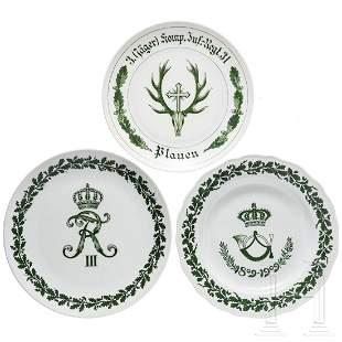 Three Meissen regimental plates of the 6th Baden