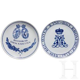 Two Meissen regimental plates of the Royal Bavarian 2nd