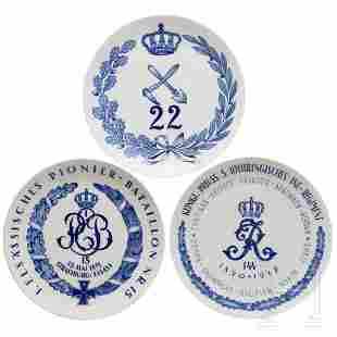 Three Meissen regimental plates of the 5th Lorraine