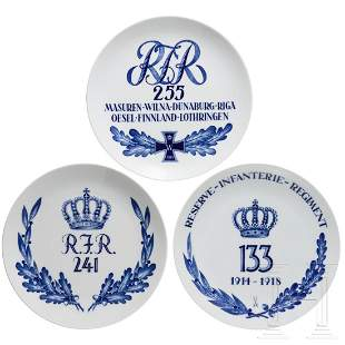 Three Meissen regimental plates of the Reserve Infantry