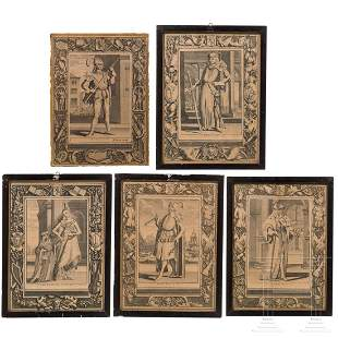A small collection of five copper engravings with the