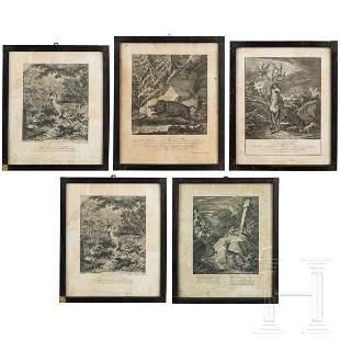 Five hunting engravings, Johann Elias Ridinger,