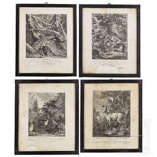 Four hunting engravings, Johann Elias Ridinger,
