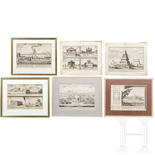 Six German and French copper engravings showing