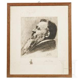John Phillipp - a signed etching portrait of Auguste