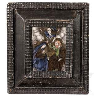 An early German reverse glass painting, 1st half of the