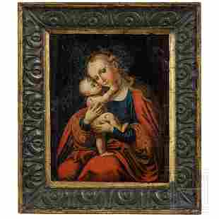A small German painting of Mary, 17th/18th century