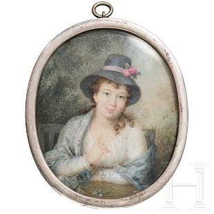An English lady's miniature in silver frame, circa