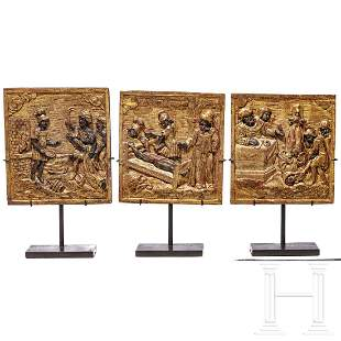 Three Italian carved wooden panels with martyrdom