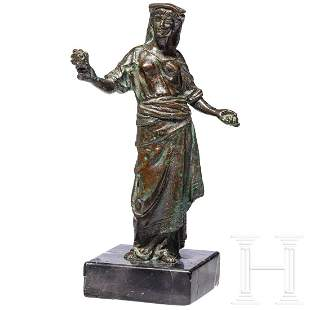 A small German bronze figurine of a lady in Roman