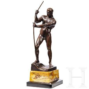 H. Riese - a bronze statue of a man stringing a bow,