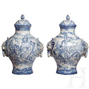 A pair of large Italian Fayance cover vases, 19th