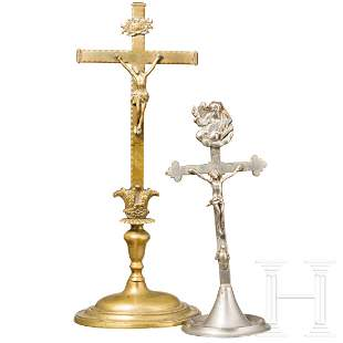 Two South German metal crucifixes, 18th and 19th
