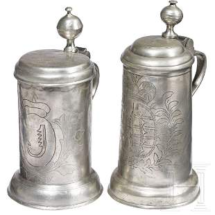 Two Saxon pewter tankards, dated 1783 and 1785