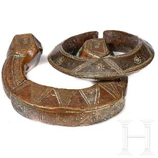 """Two Nigerian copper bracelets, so called """"Manilles"""""""