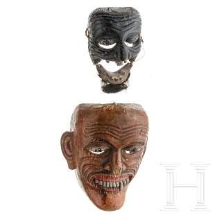 Two Southeast Asian wooden masks, circa 1900