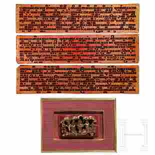 Three gilded Burmese prayer boards and a Chinese wood