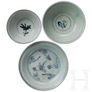 Two Chinese bowls and a plate with white-blue