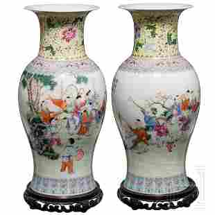 A pair of marked Chinese Famille rose vases, circa 1920