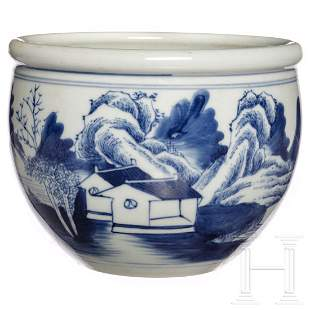 A Chinese white-and-blue bowl, early 20th century