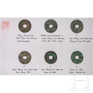 Six Chinese bronze coins, 7th - 11th century